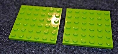 (2) 6x6 Lime Green Standard Plate Bricks ~ Lego ~ NEW