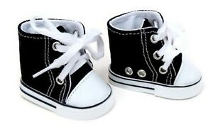 Black High Top Canvas Sneaker Shoes made to fit 18