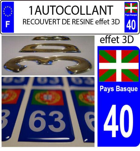 1 sticker plaque immatriculation auto DOMING 3D RESINE DRAPEAU PAYS BASQUE 40