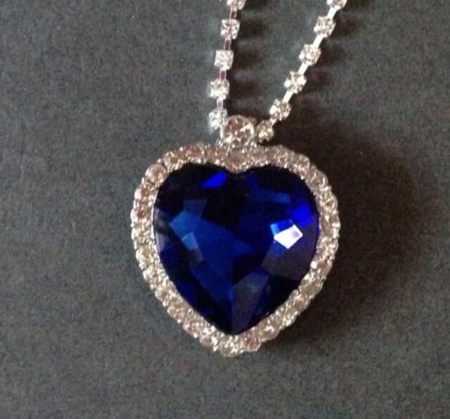"Big Titanic Sapphire Blue Crystal CZ Heart Pendant Necklace 18"" Chain New/Box"