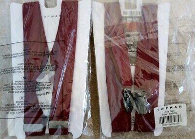 2 X Topman Borgogna Skinny Pantaloni Bretelle Nuovo Con Etichette £ 10 Tuta Smart Costume-mostra Il Titolo Originale Ineguale Nelle Prestazioni