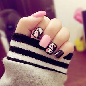 24Pcs-Set-Black-Hot-Pink-Acrylic-Nail-Tips-Short-False-Nails-Art-Fingernails