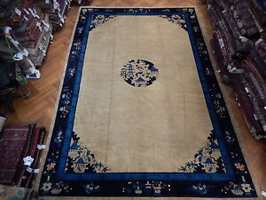 11 X 16 Hand Knotted 1900s Antique Area Rug Art Deco Vintage Chinese