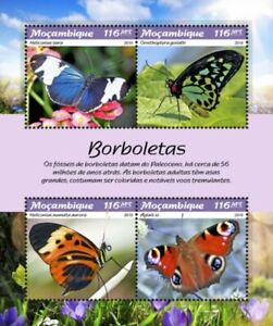 Mozambique - 2019 Butterflies - 4 Stamp Sheet - MOZ190113a