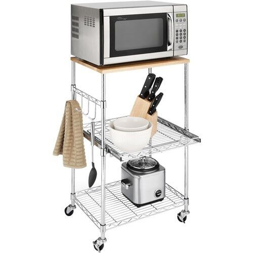 Kitchen Island Cart Portable Microwave Cabinet Rolling Utility Storage Shelves