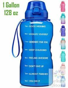 1 Gallon//128oz Motivational Sport Water Bottle with Time Marker 3.78L Gym Kettle