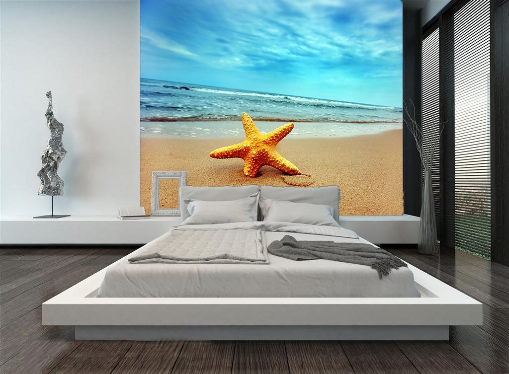3D Seesterne, Beach 0203 Fototapeten Wandbild Fototapete BildTapete Familie DE