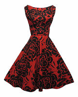 Rosa Rosa 1940's 50's Style Red Black Floral Rockabilly Party Prom Dress
