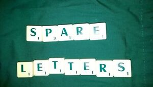 Scrabble tiles spares with green letters & values ideal for spares