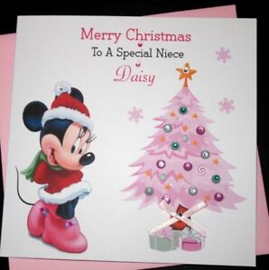 Merry Christmas Niece.Details About Handmade Personalised Pink Christmas Card Daughter Granddaughter Niece Sister