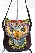 New Genuine Leather Colorful OWL Shoulder Purse Pouch Handbag - Hand Tooled