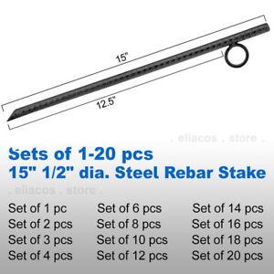 "15"" 1/2"" Steel Rebar Anchor Hard Ground Stake Secure ..."