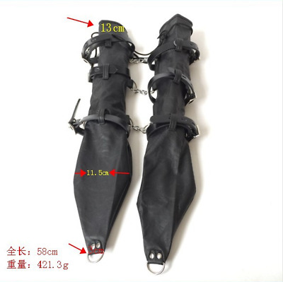 Black PU Leather Arm Restraint Hand Body Harness Handcuffs Lockable Armbinder