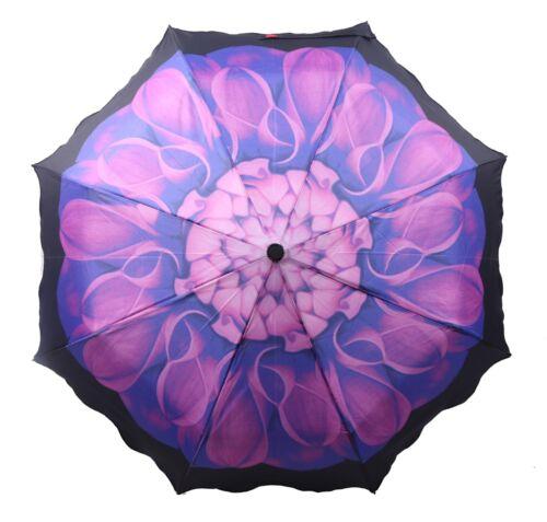 Mini  Regenschirm Taschenschirm Faltbarer Schirm Blumen Print Wind und Sturmfest