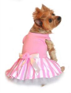 New-Size-XS-Pink-White-Striped-Tank-Dog-Dress-Dog-Clothes-Doggie-Design