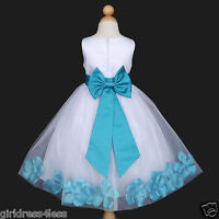 White Princess Wedding Flower Girl Petals Tulle Dress 12M 18M 2 3/4 5/6 7/8 9/10