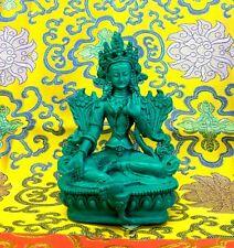 Medium Green Tara Tibetan Buddhist Statue Handmade from Nepal Resin 6 Inch
