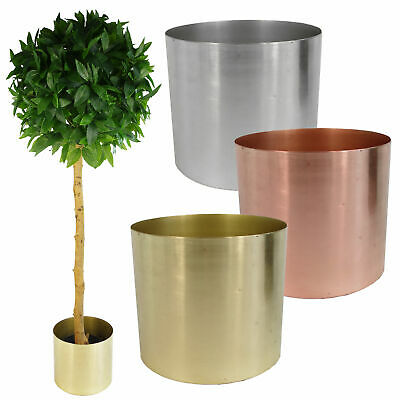 Leaf Design Brushed Metal Planters