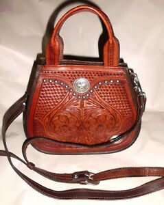 Details About American West Handbag Brown Tooled Leather Studded Western Crossbody Bag