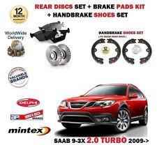FOR SAAB 9-3X 2.0 TURBO 2009-  REAR BRAKE DISCS VENTED + PADS + HANDBRAKE SHOES