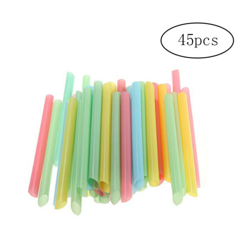 45pcs Disposable Plastic Drinking Giant Straws Bulk Jumbo Wide Drinking Straws