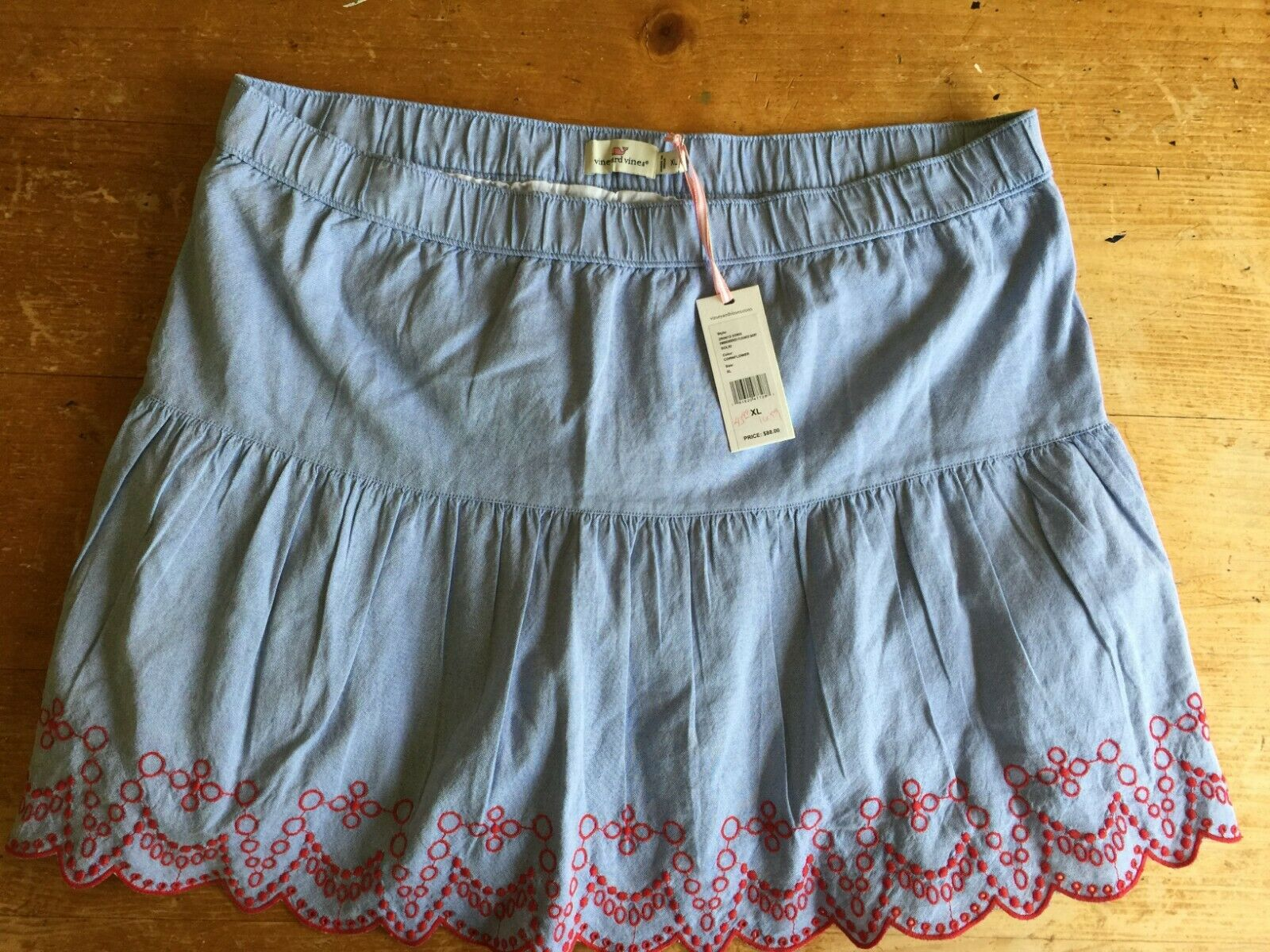 NWT Vineyard Vines Womens Embroider Pullon Cotton Flounce Skirt bluee Red XL B17