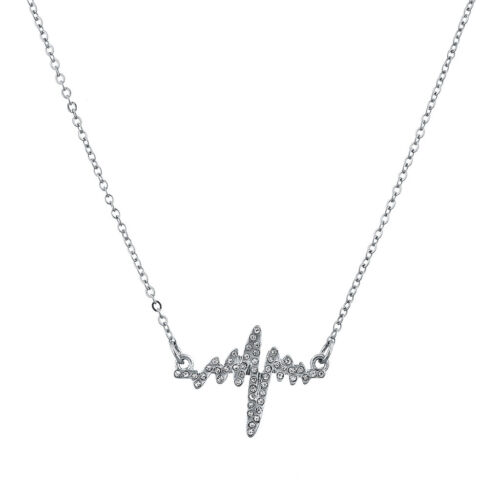 Lux Accessories Silvertone Pave Heartbeat Heart Rate Kitschy Novelty Necklace