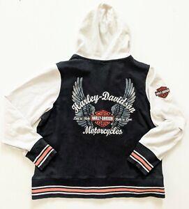 Harley Davidson Black White Womens WingsZip Up Hoodie Sweatshirt Jacket Size 1W