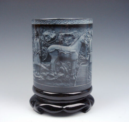Top Quality Stone Carved In Relief *Terracotta Warriors /& Horse* Brush Pen Pot