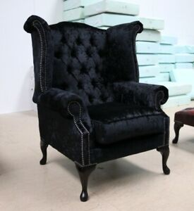 GEORGIAN-CHESTERFIELD-QUEEN-ANNE-HIGH-BACK-WING-CHAIR-BLACK-CRUSHED-VELVET