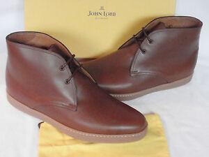 New Mens John Lobb Turf Sienna Brown Leather Chukka Boots Uk 10 5 E