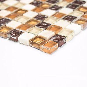 Das Bild Wird Geladen Glasmosaik Mix Beige Braun Aus Glas Stein Fuer