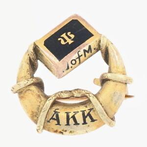 Alpha-Kappa-Kappa-Fraternidad-Insignia-18k-Oro-Esmalte-Antiguedad-Medicos-Pin