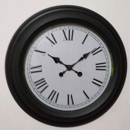 Grande Ronde Noir Horloge Murale Vintage Chiffre Romain Station Horloge Rétro Horloge nouveau
