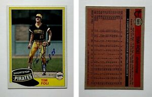 Tim-Foli-Signed-1981-Topps-501-Card-Pittsburgh-Pirates-Auto-Autograph