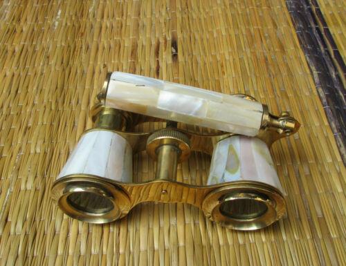 Brass Antique Binocular Mother of Pearl Lorgnette Binocular Nautical Binocular