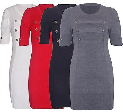 New Ladies Plus Size Puff Sleeve Knitted Military Tunic Dress 16-26