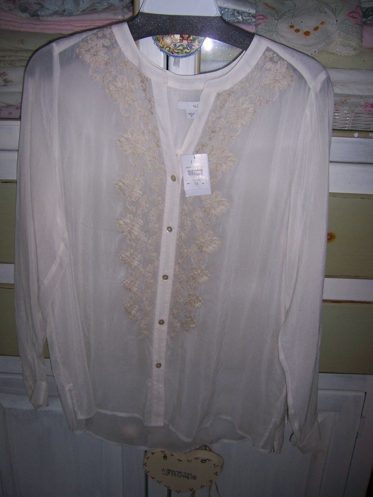 NWT J.Jill CREAM Embroiderot Trellis Gossamer Tunic Top Blouse M