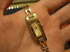 GUCCI WOMENS WATCH VINTAGE - PRE-OWNED LEATHER GOLD PLATED SWISS QUARTZ WOW!!!!!