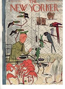 1943-New-Yorker-June-12-Cover-Only-Feed-Flamingos-McCaws-Parrot-Bemelmans