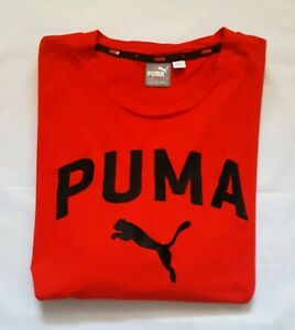 Puma-T-Shirt-High-Risk-Red-with-Black-Embroidred-Logo-Size-XL
