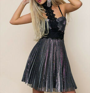 By-Alina-Damenkleid-Partykleid-Elegantes-Abendkleid-Minikleid-silber-36-S-B526