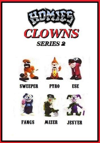 Homies Clowns Series 2-6 Figures set  w// red Ese