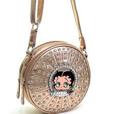 New Betty Boop Cylinder Leather Crossbody Messenger Bag Purse Hobo w/ Rhinestone