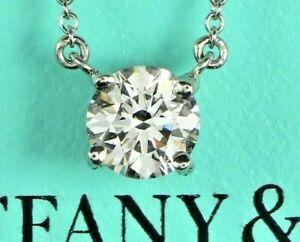 10 200 Tiffany Co Platinum Solitaire 0 88ct Vvs2 Diamond Pendant 16 Necklace Ebay