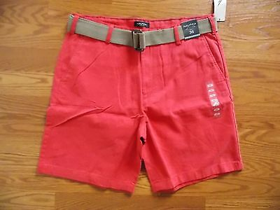 NWT Men's NAUTICA Sailor Red Belted Casual Shorts Size 38