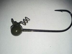 10ea.3//8oz.Gr.Pumpkin Screw Lock Shakey Head Jigs