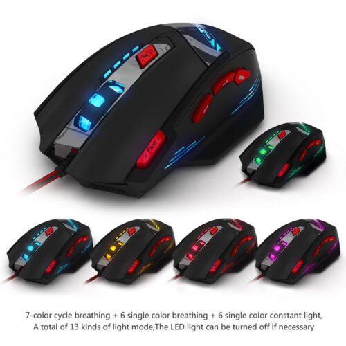 Zelotes Gaming Mouse 8000 DPI LED Optical USB Wired Gaming Mice 8 Buttons T90
