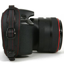 Herringbone D-SLR Camera Leather Hand Grip Strap Heritage Type1 Black/Red +Plate