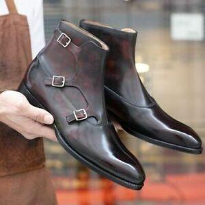 Fait-Main-Homme-Marron-Haute-cheville-triple-Moine-Bracelet-Bottes-en-cuir